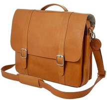 Edmond Leather Deluxe Executive Double Buckle Briefcase Tan