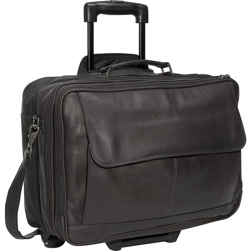 Edmond Leather Briefcase On Wheels Black