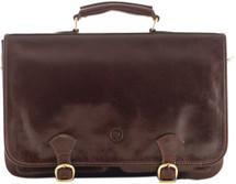 Maxwell Scott Jesolo2 Leather Satchel Briefcase Dark Brown