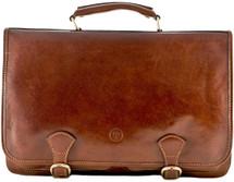 Maxwell Scott Jesolo3 Leather Satchel Briefcase Tan