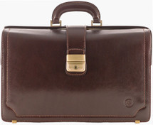 Maxwell Scott Basilio Executive Leather Briefcase Dark Brown