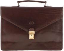 Maxwell Scott Lorenzo Slim Leather Briefcase Dark Brown