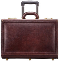 Maxwell Scott VareseW Leather Flight Case with Wheels Dark Brown