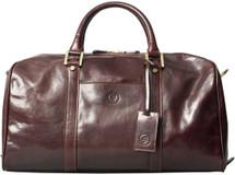 Maxwell Scott FleroS Small Leather Duffel Bag Dark Brown