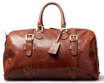 Maxwell Scott FleroM Medium Leather Duffel Bag Tan