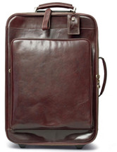 Maxwell Scott Piazzale Wheeled Leather Suitcase Dark Brown