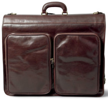 Maxwell Scott Rovello Leather Suit Carrier For Men Dark Brown
