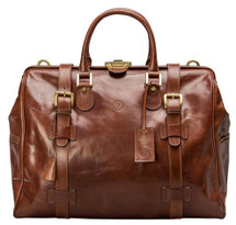 Maxwell Scott GassanoM Medium Leather Gladstone Bag Tan