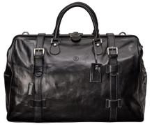 Maxwell Scott GassanoL Large Leather Gladstone Bag Black