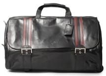 Maxwell Scott DinoL Wheeled Leather Duffel Bag Black