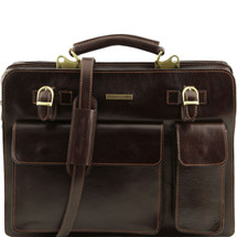 Tuscany Leather Venezia Leather Briefcase (Dark Brown)