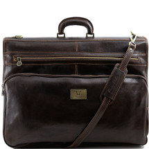 Tuscany Leather Papeete Leather Garment Bag (Dark Brown)
