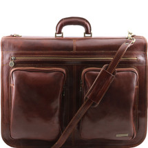 Tuscany Leather Tahiti Leather Garment Bag (Brown)