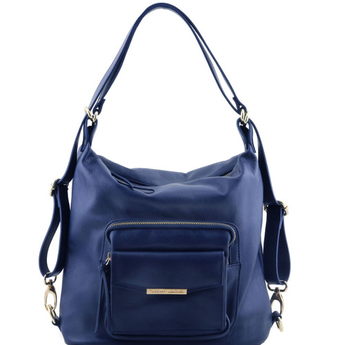 Tuscany Leather TL Leather Convertible Bag (Dark Blue)
