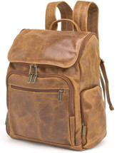 Edmond Leather Deluxe Multi-Zip Leather Backpack (Distressed Tan)