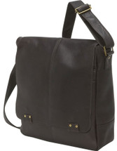 Edmond Leather Deluxe Vertical Messenger Bag (Chocolate)