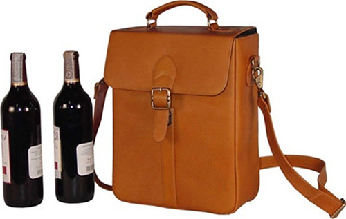Edmond Leather Two Bottle Wine Carrier