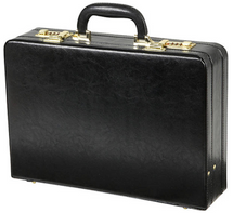 Edmond Leather Mid-Size Business Attache Case (Black)