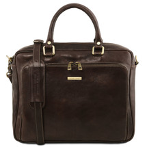 Tuscany Leather Pisa Laptop Briefcase (Dark Brown)