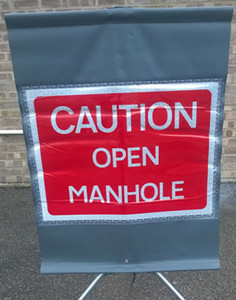 Caution Open Manhole Sign
