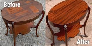 smoke damaged tables before and after
