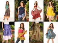 12 Pcs. Wholesale Lot Vintage Silk Sari Magic Wrap Skirt Halter Tube Maxi Dress
