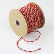 2.5mm x 50 Yards Decorative Two Tone Burlap Jute Rope Twine (Red)