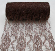 """6"""" wide x 10 Yards Sparkle Floral Pattern Lace Fabric for Decorating, Floral Designing and Crafts (Brown)"""