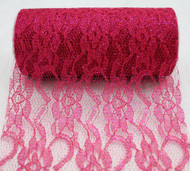 """6"""" wide x 10 Yards Sparkle Floral Pattern Lace Fabric for Decorating, Floral Designing and Crafts (Fuchsia)"""