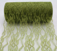 """6"""" wide x 10 Yards Sparkle Floral Pattern Lace Fabric for Decorating, Floral Designing and Crafts (Olive)"""