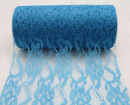"""6"""" wide x 10 Yards Sparkle Floral Pattern Lace Fabric for Decorating, Floral Designing and Crafts (Turquoise)"""