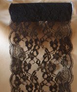 """9"""" wide x 10 yards Black Floral Pattern Lace Ribbon for Decorating, Floral Designing and Crafts"""
