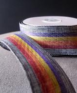 "AK-Trading 1.5"" Inches X 10 Yards Vintage Cloth Striped Rainbow Ribbon (Blue)"