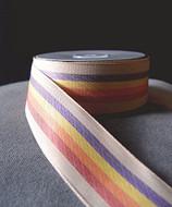 "AK-Trading 1.5"" Inches X 10 Yards Vintage Cloth Striped Rainbow Ribbon (Natural)"