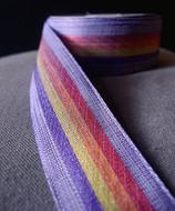 "AK-Trading 1.5"" Inches X 10 Yards Vintage Cloth Striped Rainbow Ribbon (Purple)"