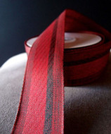 """AK-Trading 1.5"""" Inches X 10 Yards Vintage Cloth Striped Ribbon (Red)"""