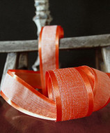 """AK-Trading 1.5"""" x 25 Yards Faux Linen Ribbon with Satin Edge - Select From 3 Sizes and 14 Colors (Autumn)"""
