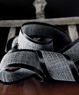 """AK-Trading 1.5"""" x 25 Yards Faux Linen Ribbon with Satin Edge - Select From 3 Sizes and 14 Colors (Black)"""