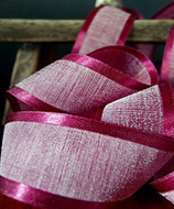 """AK-Trading 1.5"""" x 25 Yards Faux Linen Ribbon with Satin Edge - Select From 3 Sizes and 14 Colors (Burgundy)"""