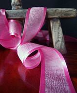 """AK-Trading 1.5"""" x 25 Yards Faux Linen Ribbon with Satin Edge - Select From 3 Sizes and 14 Colors (Hot Pink)"""