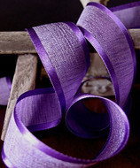 """AK-Trading 1.5"""" x 25 Yards Faux Linen Ribbon with Satin Edge - Select From 3 Sizes and 14 Colors (Purple)"""