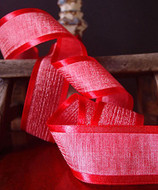"""AK-Trading 1.5"""" x 25 Yards Faux Linen Ribbon with Satin Edge - Select From 3 Sizes and 14 Colors (Red)"""