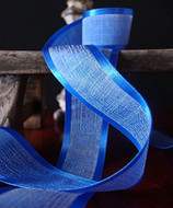 """AK-Trading 1.5"""" x 25 Yards Faux Linen Ribbon with Satin Edge - Select From 3 Sizes and 14 Colors (Royal Blue)"""