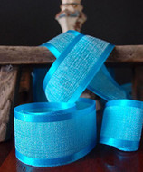 """AK-Trading 1.5"""" x 25 Yards Faux Linen Ribbon with Satin Edge - Select From 3 Sizes and 14 Colors (Turquoise)"""