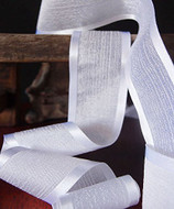 """AK-Trading 1.5"""" x 25 Yards Faux Linen Ribbon with Satin Edge - Select From 3 Sizes and 14 Colors (White)"""