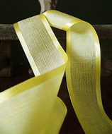 "AK-Trading 1.5"" x 25 Yards Faux Linen Ribbon with Satin Edge - Select From 3 Sizes and 14 Colors (Yellow)"