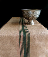 "AK-Trading 12.5"" Inches X 108 Inches Burlap Table Runner with Stripes (Green)"