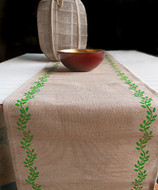 """AK-Trading 13"""" x 180"""" Juco Burlap & Cotton Blend Christmas Table Runner (Moss Green Leaves)"""