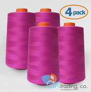 AK-Trading 4-Pack HOT PINK Serger Cone Thread (6000 yards each) of Polyester thread for Sewing, Quilting, Serger #842