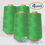 AK-Trading 4-Pack LIME GREEN Serger Cone Thread (6000 yards each) of Polyester thread for Sewing, Quilting, Serger #736
